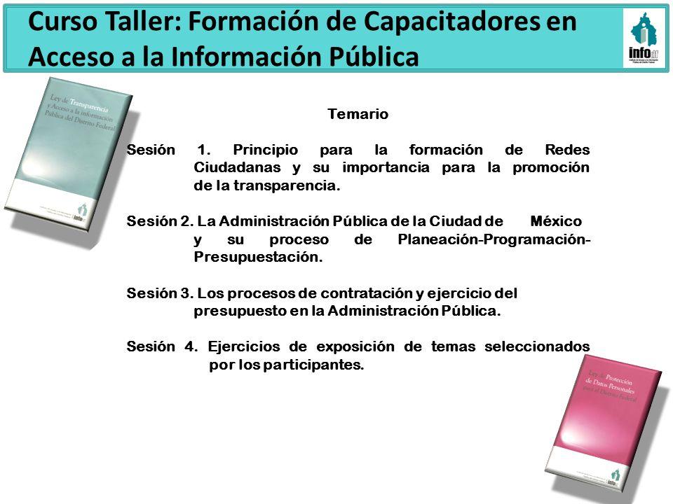 Curso Taller: Formación de Capacitadores en Acceso a la Información Pública Temario Sesión 1. Principio para la formación de Redes Ciudadanas y su imp