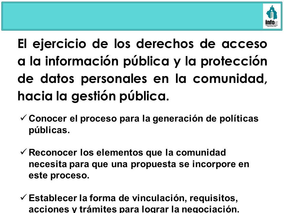 El ejercicio de los derechos de acceso a la información pública y la protección de datos personales en la comunidad, hacia la gestión pública. Conocer