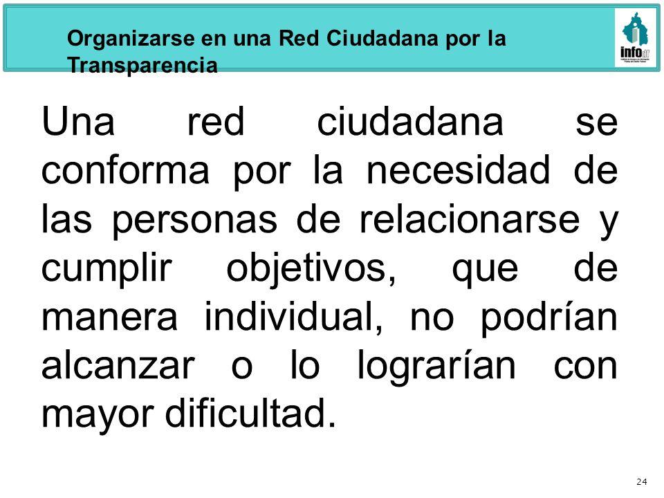 24 Una red ciudadana se conforma por la necesidad de las personas de relacionarse y cumplir objetivos, que de manera individual, no podrían alcanzar o