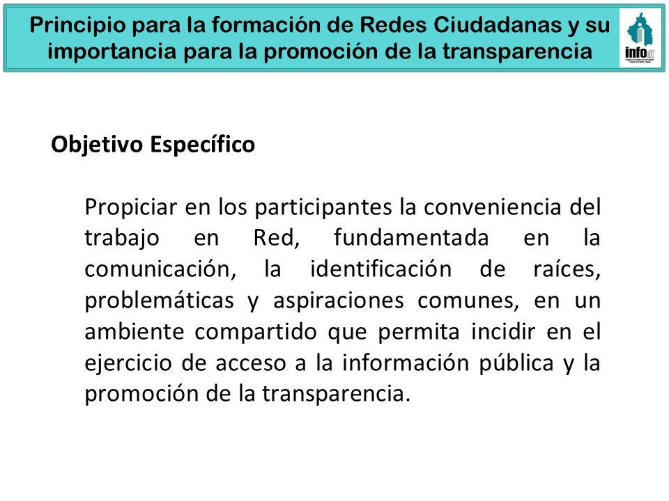 30 127 31 49 15 133 75 15 571 Principio para la formación de Redes Ciudadanas y su importancia para la promoción de la transparencia Objetivo Específi