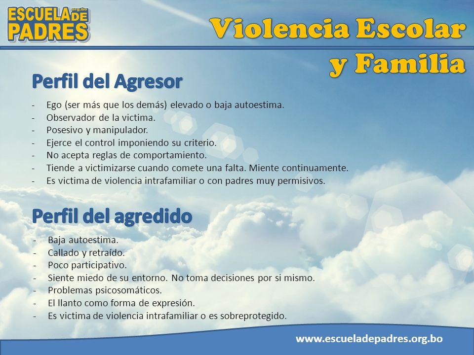 www.escueladepadres.org.bo -Ego (ser más que los demás) elevado o baja autoestima. -Observador de la victima. -Posesivo y manipulador. -Ejerce el cont