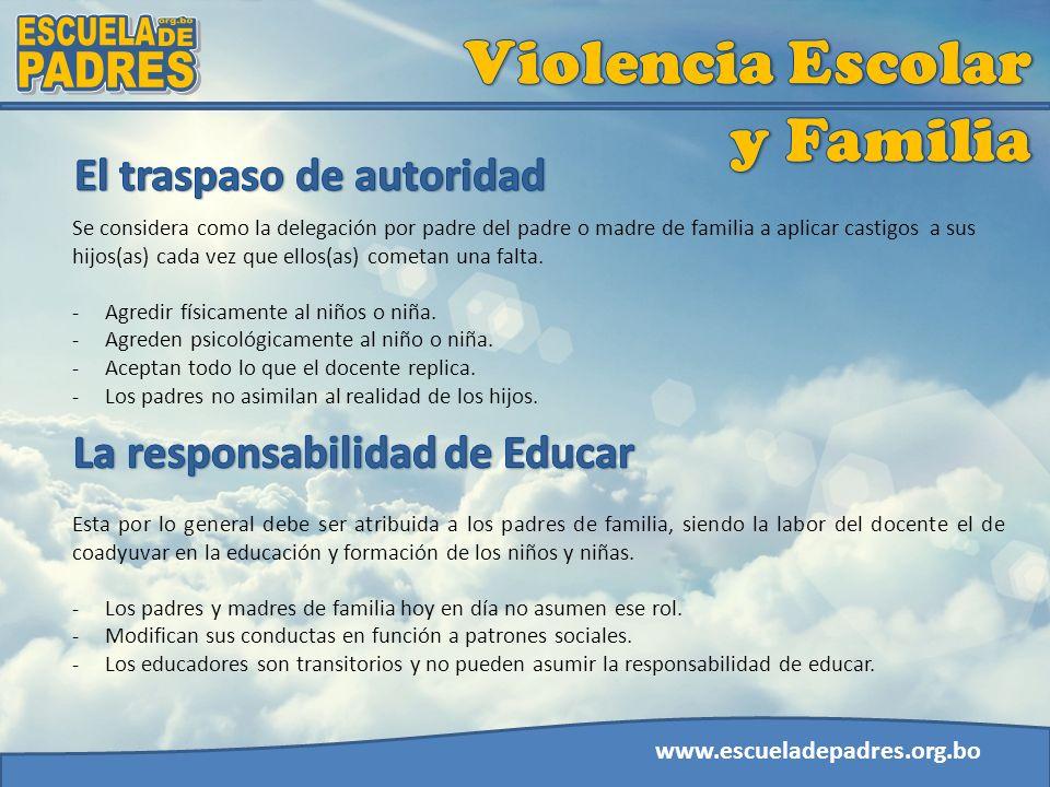 www.escueladepadres.org.bo Se considera como la delegación por padre del padre o madre de familia a aplicar castigos a sus hijos(as) cada vez que ello