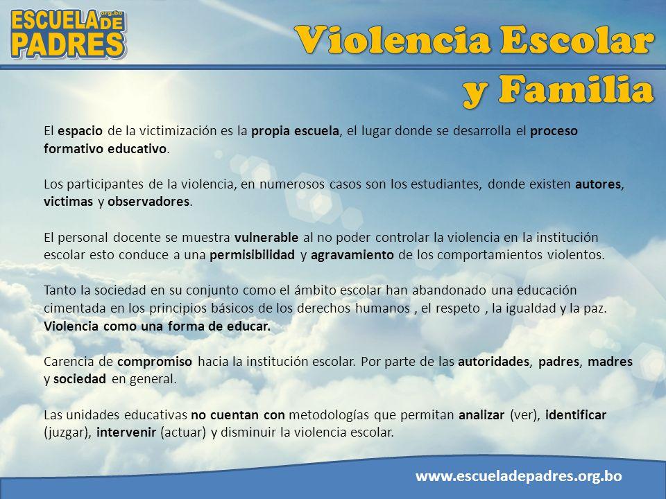 www.escueladepadres.org.bo El espacio de la victimización es la propia escuela, el lugar donde se desarrolla el proceso formativo educativo. Los parti