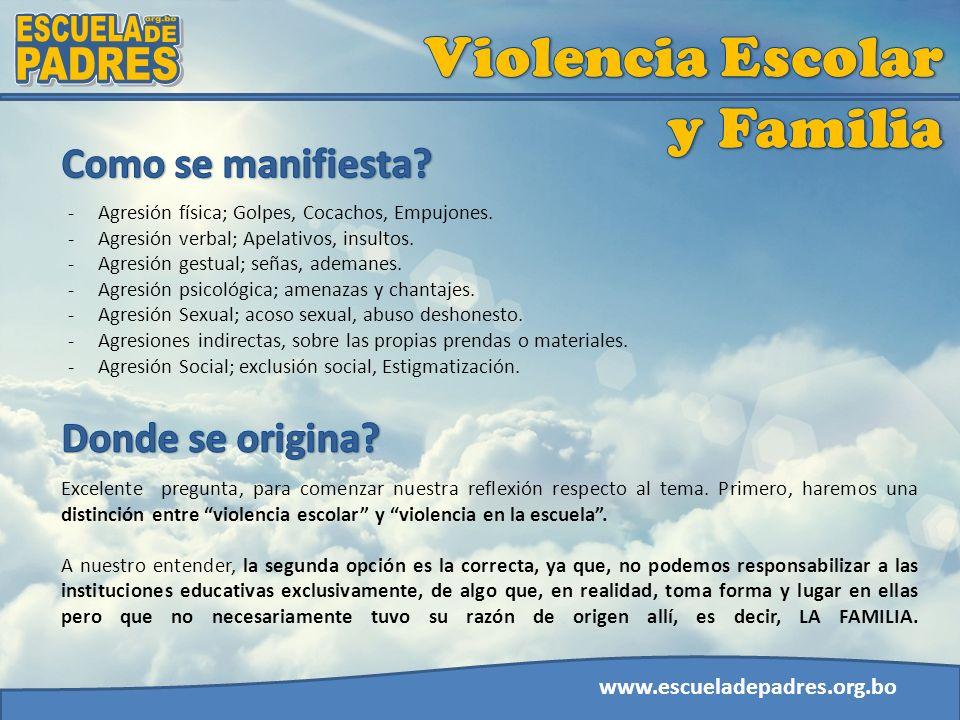 www.escueladepadres.org.bo -Agresión física; Golpes, Cocachos, Empujones. -Agresión verbal; Apelativos, insultos. -Agresión gestual; señas, ademanes.