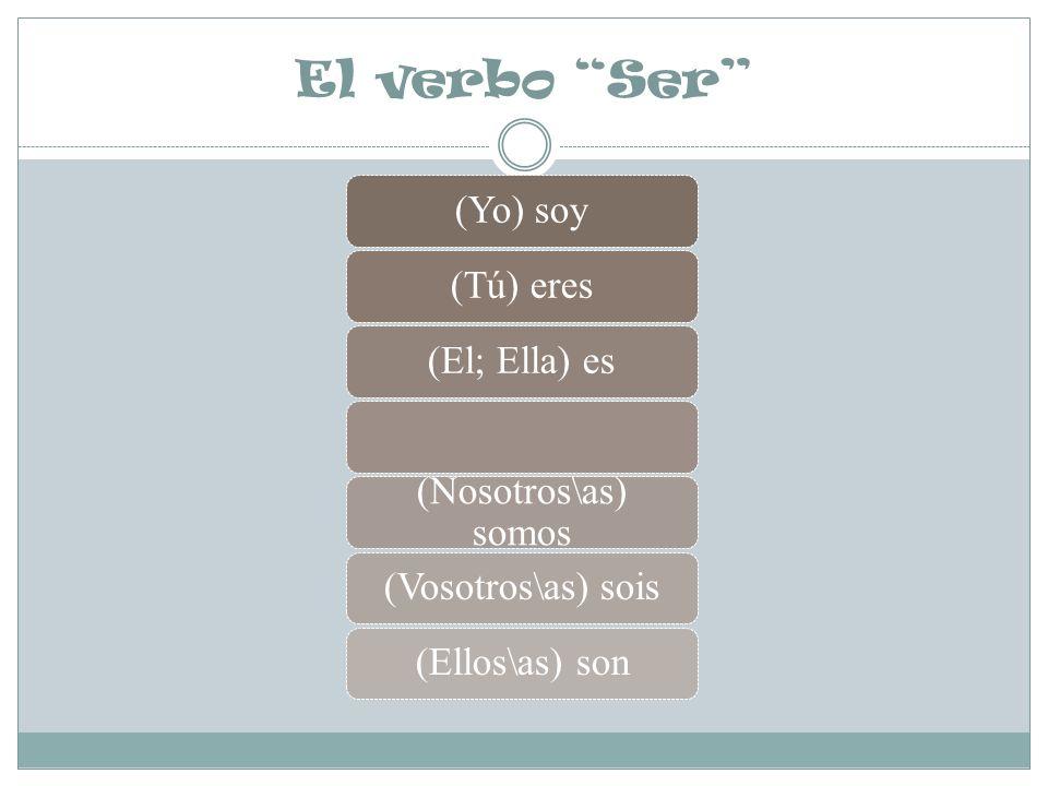 El verbo Ser (Yo) soy(Tú) eres(El; Ella) es (Nosotros\as) somos (Vosotros\as) sois(Ellos\as) son