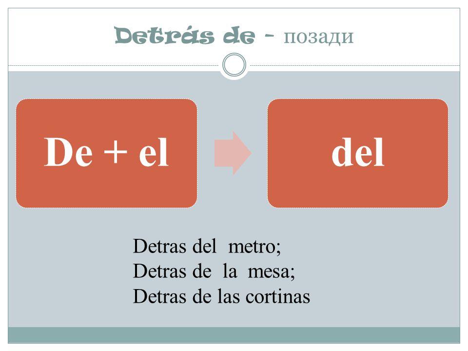 Detrás de - позади De + eldel Detras del metro; Detras de la mesa; Detras de las cortinas