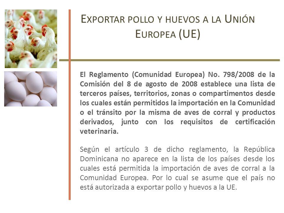 E XPORTAR POLLO Y HUEVOS A LA U NIÓN E UROPEA (UE) El Reglamento (Comunidad Europea) No.
