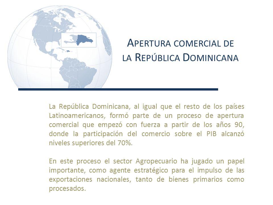 A PERTURA COMERCIAL DE LA R EPÚBLICA D OMINICANA La República Dominicana, al igual que el resto de los países Latinoamericanos, formó parte de un proceso de apertura comercial que empezó con fuerza a partir de los años 90, donde la participación del comercio sobre el PIB alcanzó niveles superiores del 70%.