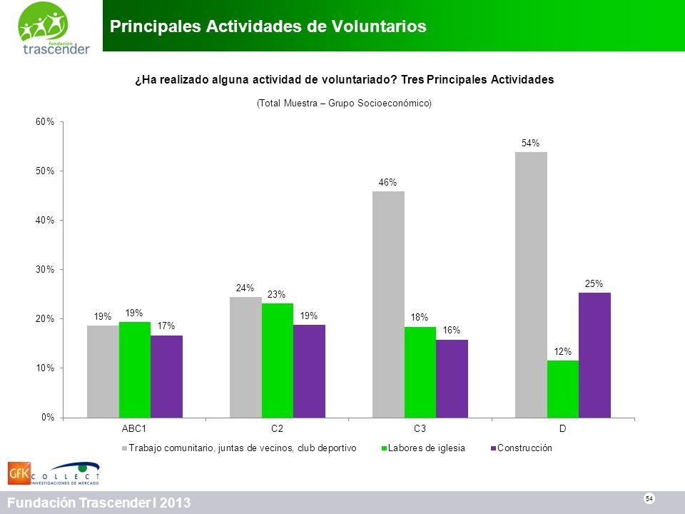 54 Fundación Trascender I 2013 Principales Actividades de Voluntarios 54 ¿Ha realizado alguna actividad de voluntariado? Tres Principales Actividades