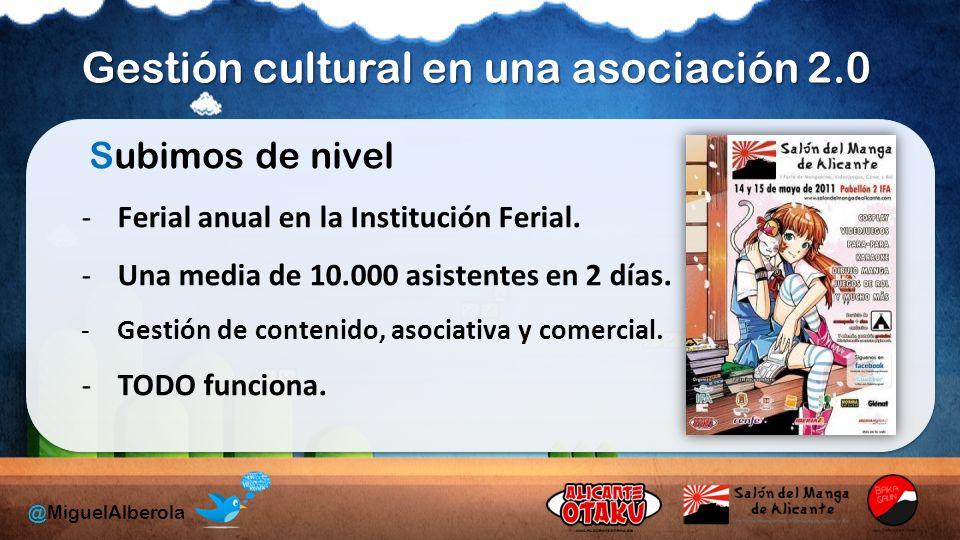 Gestión cultural en una asociación 2.0 @MiguelAlberola Subimos de nivel -Ferial anual en la Institución Ferial.