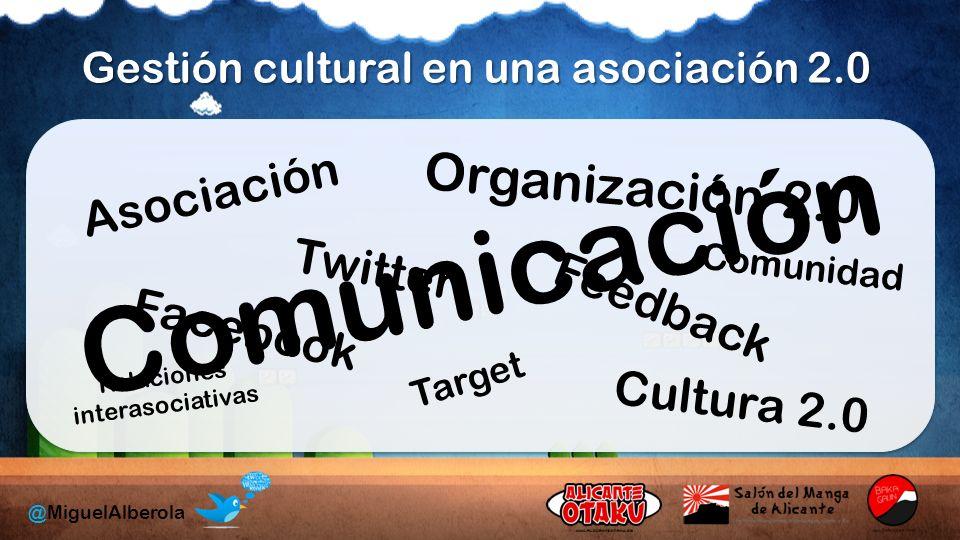 Gestión cultural en una asociación 2.0 Asociación Facebook Twitter Organización 2.0 Feedback Target Relaciones interasociativas Cultura 2.0 Comunicación Comunidad @MiguelAlberola