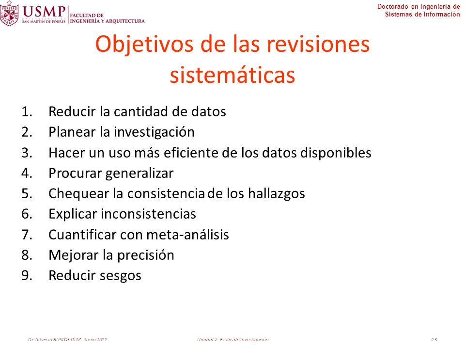 Doctorado en Ingeniería de Sistemas de Información Objetivos de las revisiones sistemáticas 1.Reducir la cantidad de datos 2.Planear la investigación