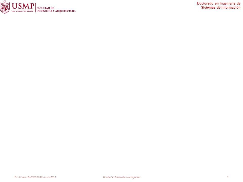 Doctorado en Ingeniería de Sistemas de Información Dr. Silverio BUSTOS DIAZ - Junio 2011Unidad 2: Estilos de Investigación3