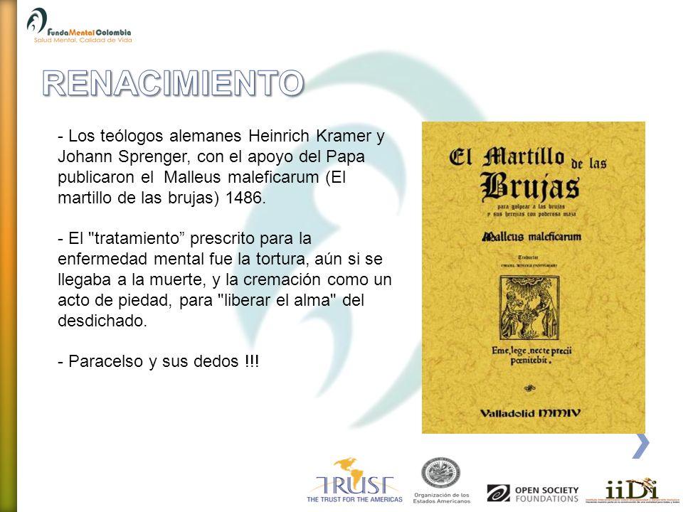 - Los teólogos alemanes Heinrich Kramer y Johann Sprenger, con el apoyo del Papa publicaron el Malleus maleficarum (El martillo de las brujas) 1486. -