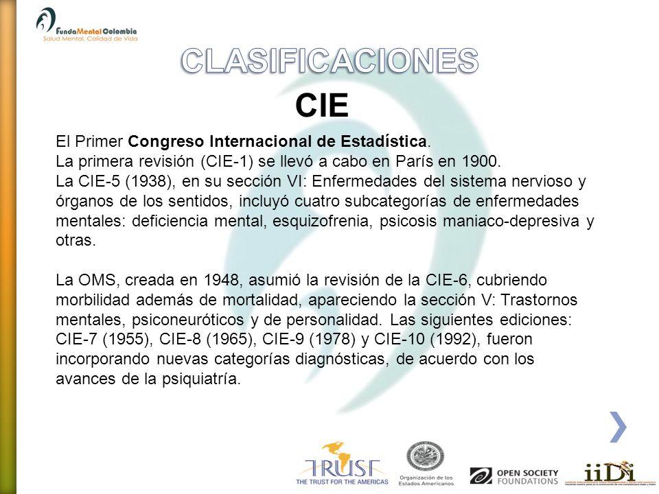 El Primer Congreso Internacional de Estadística. La primera revisión (CIE-1) se llevó a cabo en París en 1900. La CIE-5 (1938), en su sección VI: Enfe