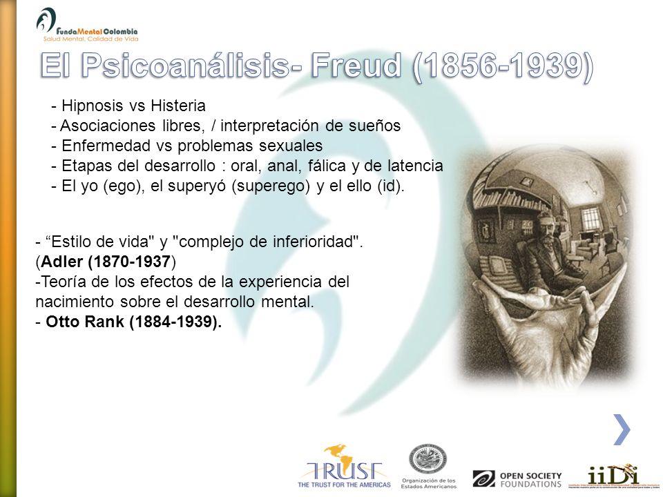 - Hipnosis vs Histeria - Asociaciones libres, / interpretación de sueños - Enfermedad vs problemas sexuales - Etapas del desarrollo : oral, anal, fáli