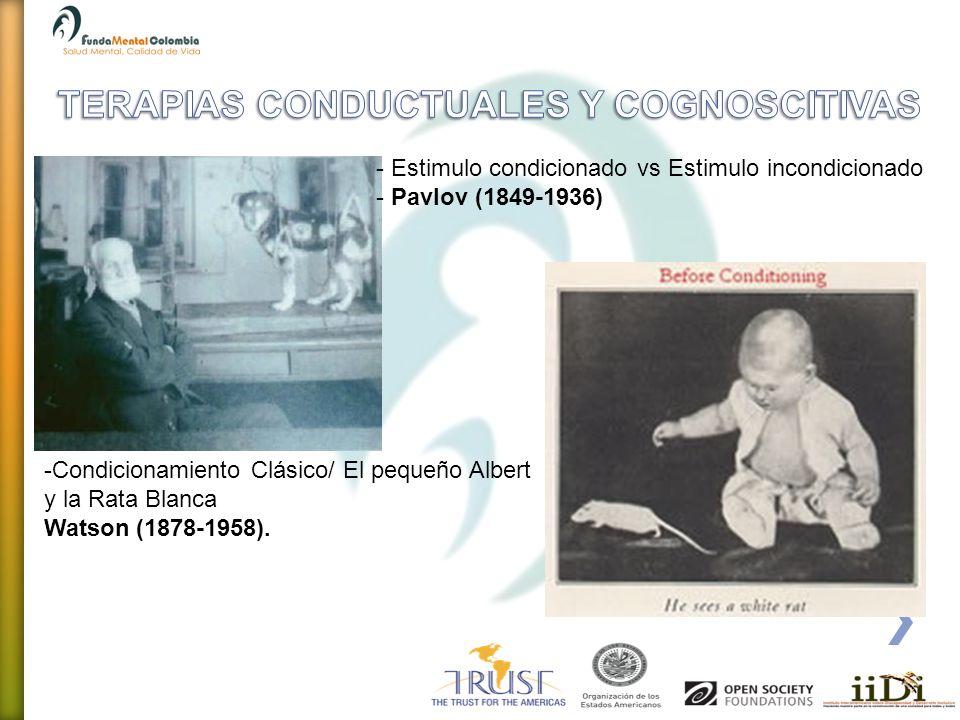 - Estimulo condicionado vs Estimulo incondicionado - Pavlov (1849-1936) -Condicionamiento Clásico/ El pequeño Albert y la Rata Blanca Watson (1878-195