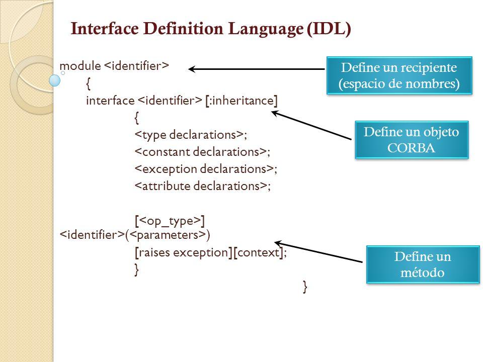 Interface Definition Language (IDL) Independencia de Idioma Define las interfaces de objetos Denota servicios que pueden ser atendidos y ejecutados para cambiar de valor y adquirir un valor.