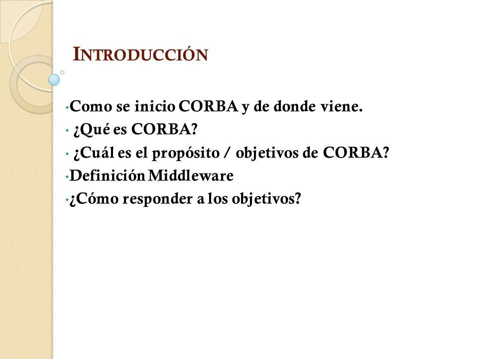 I NTRODUCCIÓN Como se inicio CORBA y de donde viene.