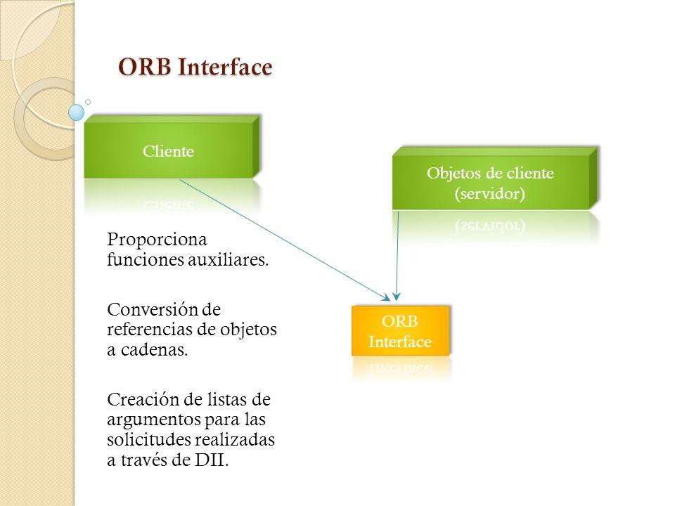 ORB Core Proporciona mecanismo para comunicar de forma transparente las solicitudes de cliente para apuntar implementaciones de objetos Hace solicitud