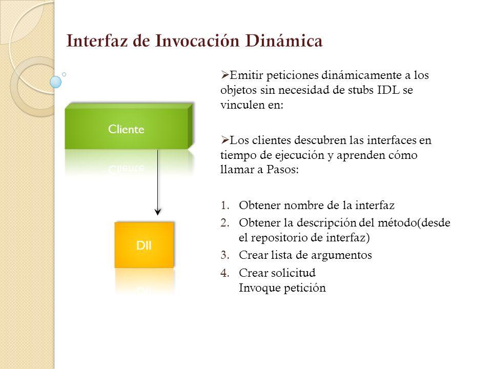 IDL Stub Interfaz de Invocación estática (SII). Los datos de aplicación Alguaciles en una representación común a nivel de paquetes. Orden de bytes de