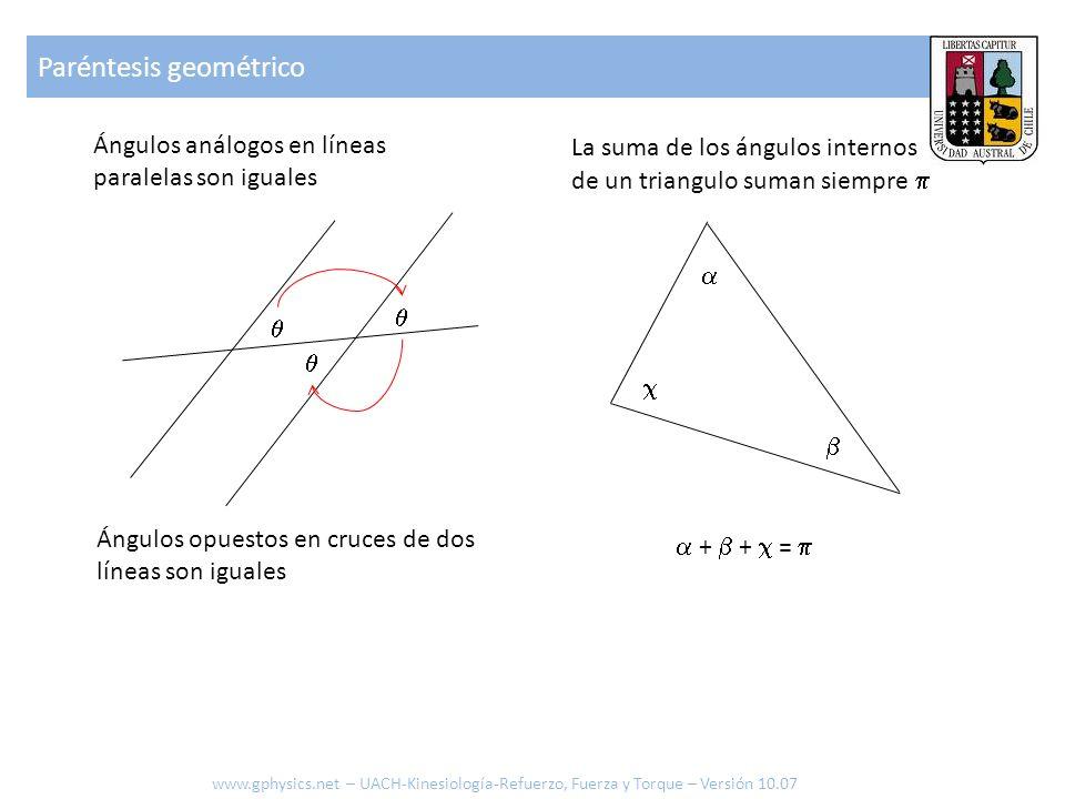 Ángulos análogos en líneas paralelas son iguales Ángulos opuestos en cruces de dos líneas son iguales La suma de los ángulos internos de un triangulo suman siempre + + = Paréntesis geométrico www.gphysics.net – UACH-Kinesiología-Refuerzo, Fuerza y Torque – Versión 10.07