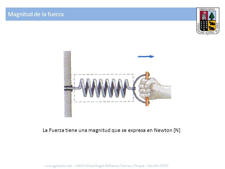 La Fuerza tiene una magnitud que se expresa en Newton [N] Magnitud de la fuerza www.gphysics.net – UACH-Kinesiología-Refuerzo, Fuerza y Torque – Versi