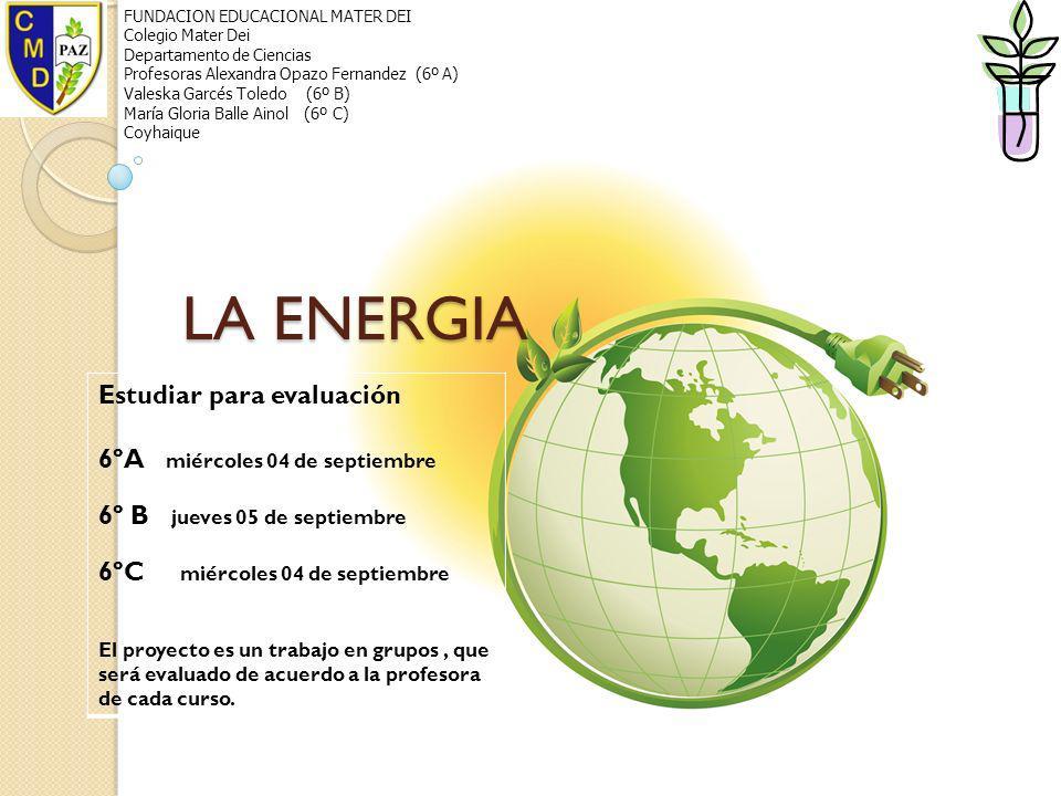LA ENERGIA FUNDACION EDUCACIONAL MATER DEI Colegio Mater Dei Departamento de Ciencias Profesoras Alexandra Opazo Fernandez (6º A) Valeska Garcés Toled