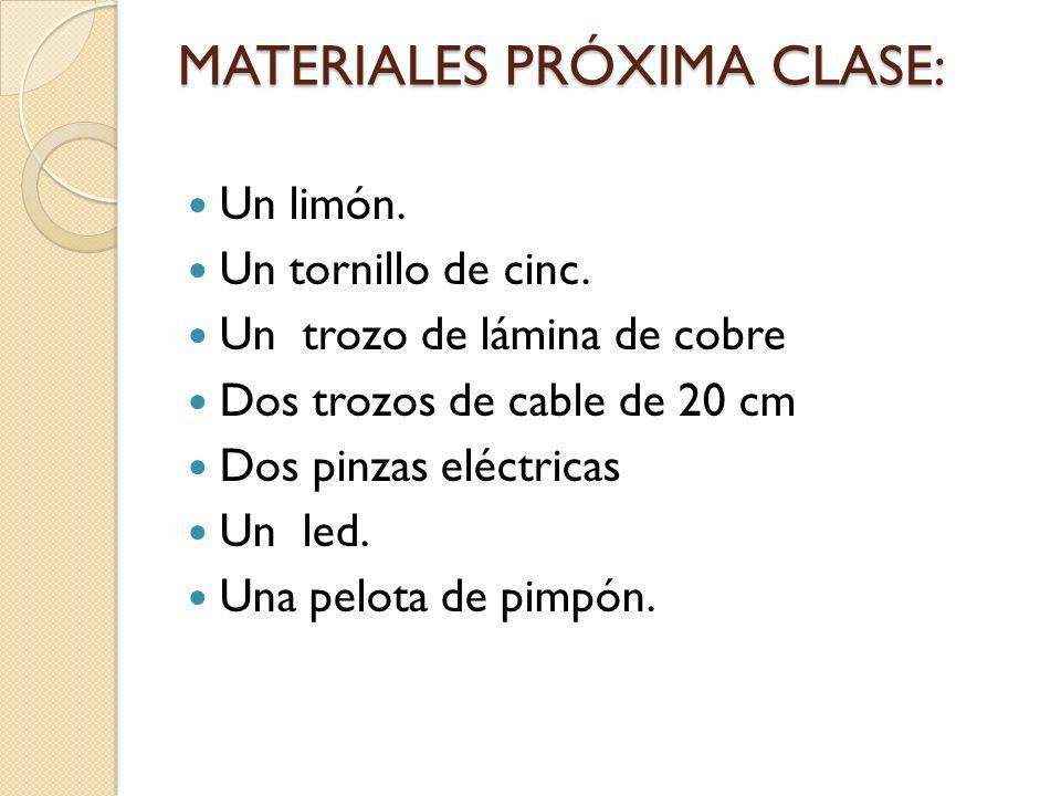 MATERIALES PRÓXIMA CLASE: Un limón. Un tornillo de cinc. Un trozo de lámina de cobre Dos trozos de cable de 20 cm Dos pinzas eléctricas Un led. Una pe