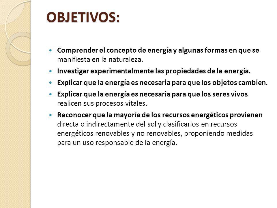 OBJETIVOS: Comprender el concepto de energía y algunas formas en que se manifiesta en la naturaleza. Investigar experimentalmente las propiedades de l