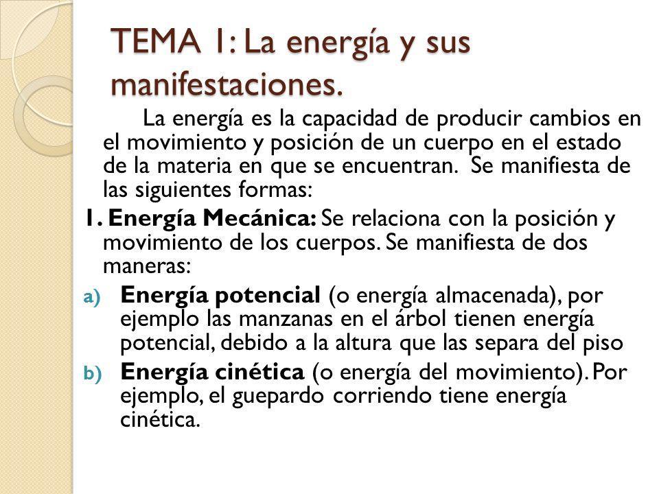 TEMA 1: La energía y sus manifestaciones. La energía es la capacidad de producir cambios en el movimiento y posición de un cuerpo en el estado de la m