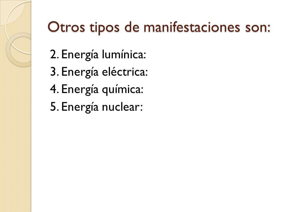 Otros tipos de manifestaciones son: 2. Energía lumínica: 3. Energía eléctrica: 4. Energía química: 5. Energía nuclear: