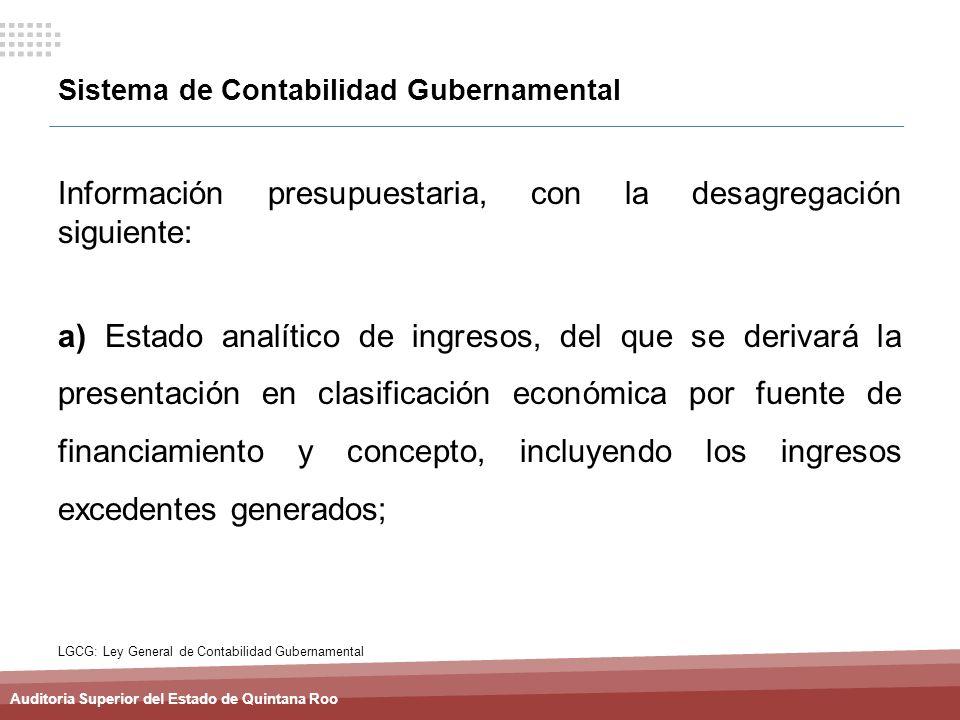 Auditoria Superior del Estado de Quintana Roo Sistema de Contabilidad Gubernamental Información presupuestaria, con la desagregación siguiente: a) Est