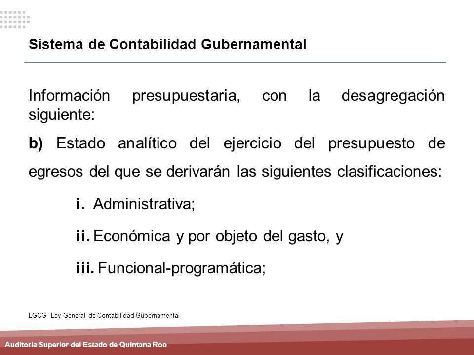 Auditoria Superior del Estado de Quintana Roo Sistema de Contabilidad Gubernamental Información presupuestaria, con la desagregación siguiente: b) Est