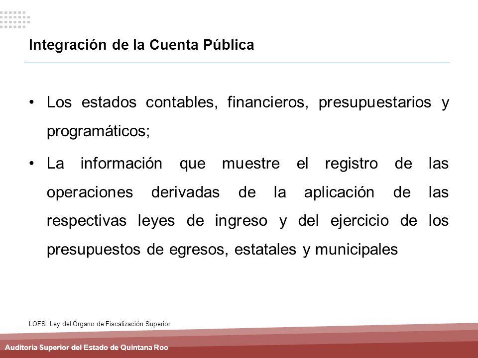 Auditoria Superior del Estado de Quintana Roo Integración de la Cuenta Pública Los estados contables, financieros, presupuestarios y programáticos; La