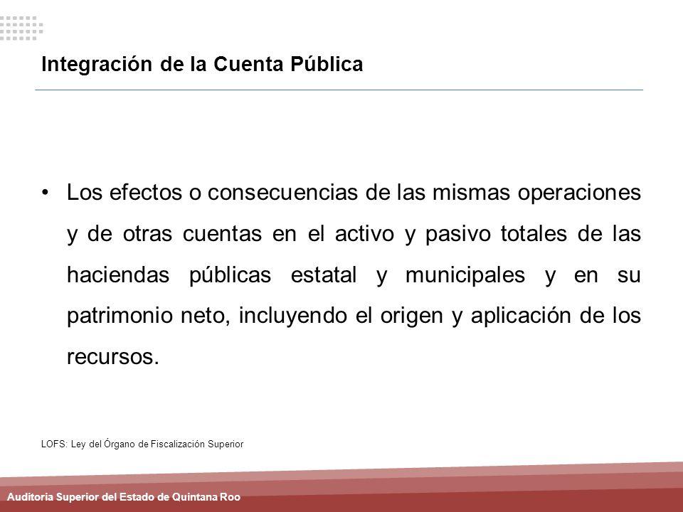 Auditoria Superior del Estado de Quintana Roo Integración de la Cuenta Pública Los efectos o consecuencias de las mismas operaciones y de otras cuenta