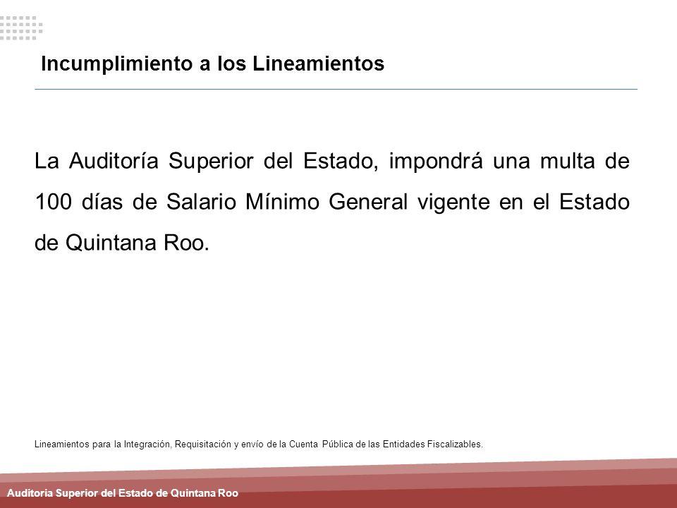 Auditoria Superior del Estado de Quintana Roo Incumplimiento a los Lineamientos La Auditoría Superior del Estado, impondrá una multa de 100 días de Sa