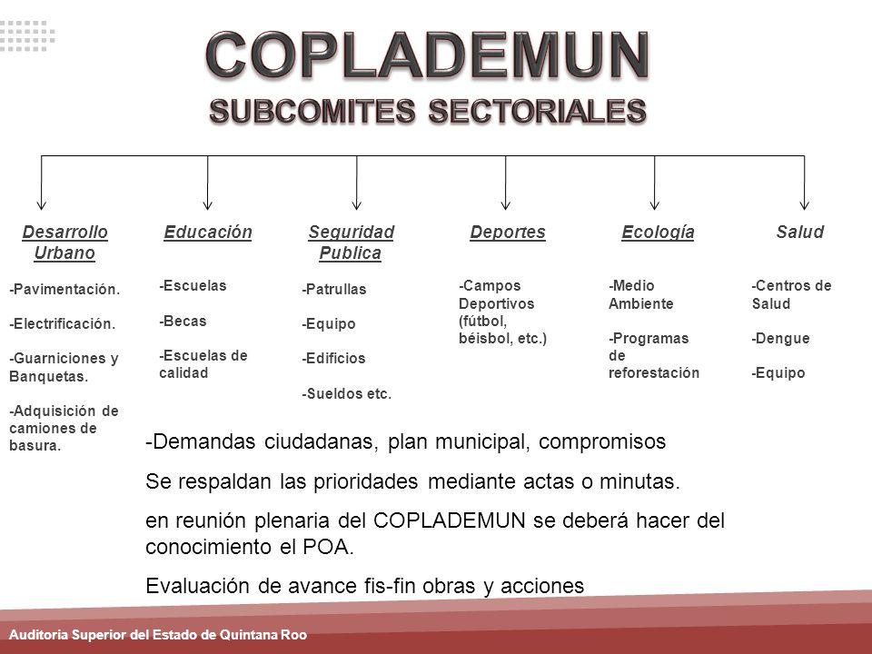 Auditoria Superior del Estado de Quintana Roo Desarrollo Urbano -Pavimentación. -Electrificación. -Guarniciones y Banquetas. -Adquisición de camiones