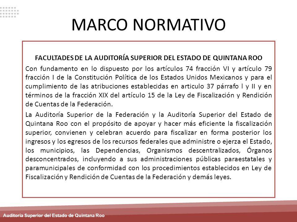 Auditoria Superior del Estado de Quintana Roo MARCO NORMATIVO FACULTADES DE LA AUDITORÍA SUPERIOR DEL ESTADO DE QUINTANA ROO Con fundamento en lo disp