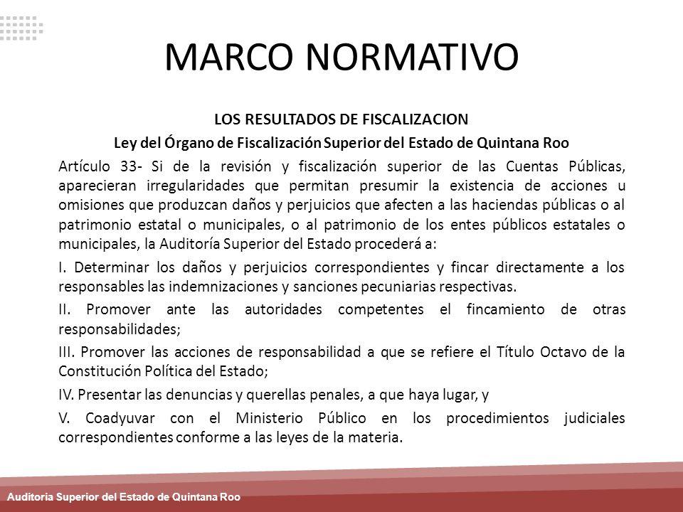 Auditoria Superior del Estado de Quintana Roo MARCO NORMATIVO LOS RESULTADOS DE FISCALIZACION Ley del Órgano de Fiscalización Superior del Estado de Q