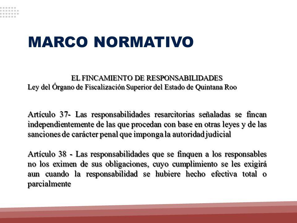 MARCO NORMATIVO EL FINCAMIENTO DE RESPONSABILIDADES Ley del Órgano de Fiscalización Superior del Estado de Quintana Roo Artículo 37- Las responsabilid