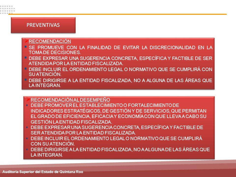 Auditoria Superior del Estado de Quintana Roo PREVENTIVAS RECOMENDACIÓN AL DESEMPEÑO DEBE PROMOVER EL ESTABLECIMIENTO O FORTALECIMIENTO DE INDICADORES