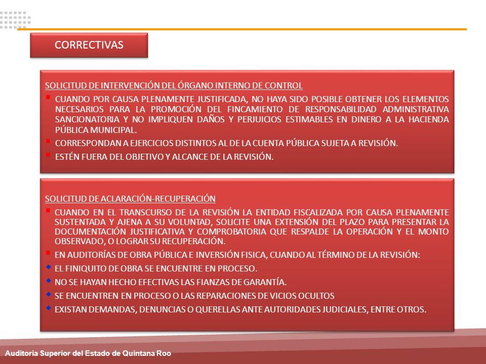 Auditoria Superior del Estado de Quintana Roo SOLICITUD DE ACLARACIÓN-RECUPERACIÓN CUANDO EN EL TRANSCURSO DE LA REVISIÓN LA ENTIDAD FISCALIZADA POR C