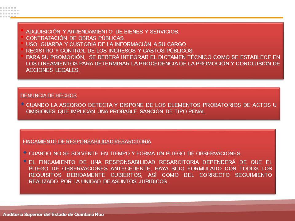 Auditoria Superior del Estado de Quintana Roo ADQUISICIÓN Y ARRENDAMIENTO DE BIENES Y SERVICIOS. CONTRATACIÓN DE OBRAS PÚBLICAS. USO, GUARDA Y CUSTODI