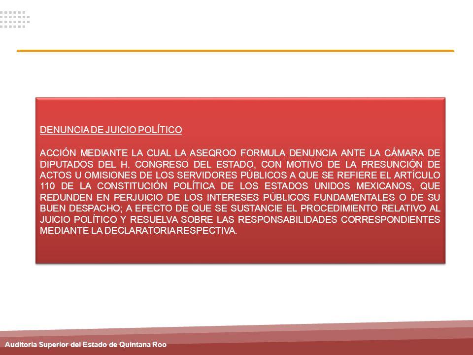 Auditoria Superior del Estado de Quintana Roo DENUNCIA DE JUICIO POLÍTICO ACCIÓN MEDIANTE LA CUAL LA ASEQROO FORMULA DENUNCIA ANTE LA CÁMARA DE DIPUTA