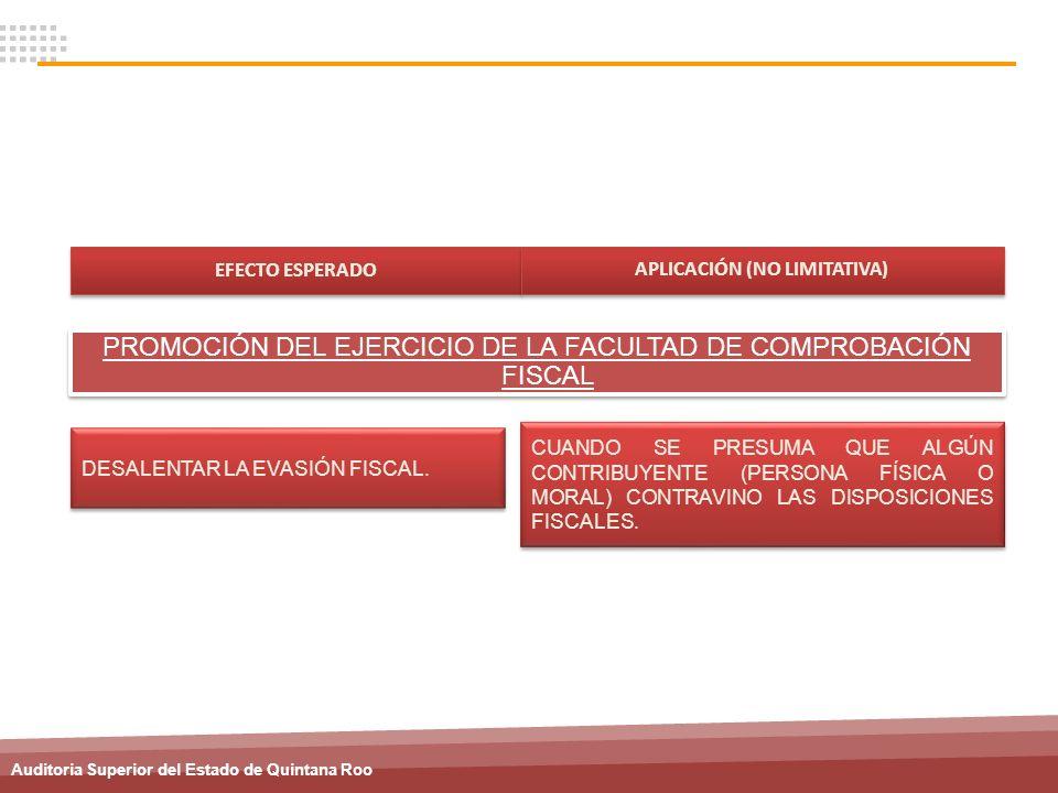 Auditoria Superior del Estado de Quintana Roo DESALENTAR LA EVASIÓN FISCAL. CUANDO SE PRESUMA QUE ALGÚN CONTRIBUYENTE (PERSONA FÍSICA O MORAL) CONTRAV