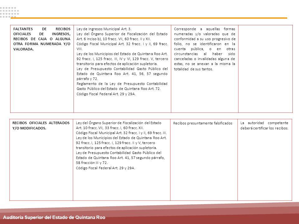 Auditoria Superior del Estado de Quintana Roo FALTANTES DE RECIBOS OFICIALES DE INGRESOS, RECIBOS DE CAJA O ALGUNA OTRA FORMA NUMERADA Y/O VALORADA. L