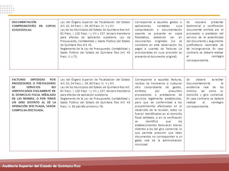 Auditoria Superior del Estado de Quintana Roo DOCUMENTACIÓN COMPROBATORÍA EN COPIAS FOTOSTÁTICAS. Ley del Órgano Superior de Fiscalización del Estado
