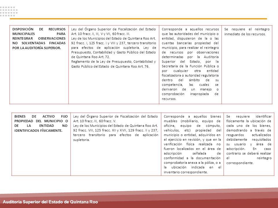 Auditoria Superior del Estado de Quintana Roo DISPOSICIÓN DE RECURSOS MUNICIPALES PARA REINTEGRAR OBSERVACIONES NO SOLVENTADAS FINCADAS POR LA AUDITOR