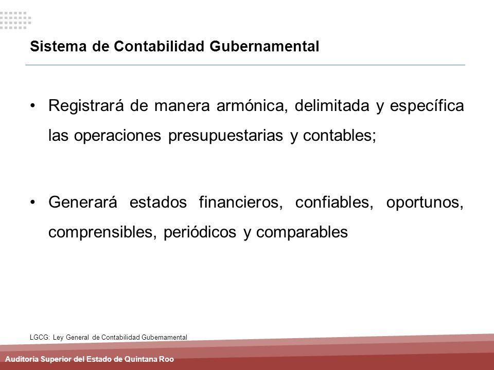 Auditoria Superior del Estado de Quintana Roo Sistema de Contabilidad Gubernamental Registrará de manera armónica, delimitada y específica las operaci